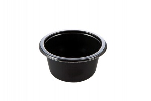 This plate is a circular CPET Tray. It can be used in the microwave and the oven up to 400 degrees.