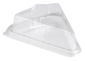 This is an APET tray that is commonly used for sandwiches. It is rectangular shaped and is clear.