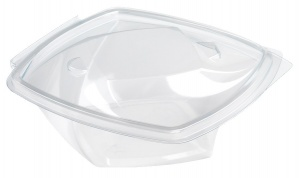 This is an APET tray that is commonly used for cold snacks. It is rectangular shaped and is clear.