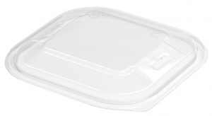 This is a Clear APET  tray used to cover cold food and snacks.