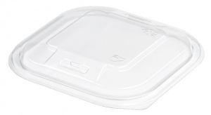 This is an APET lid that is used to close a tray with cold food and snacks.