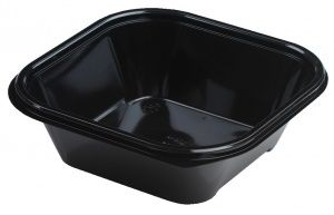 This is an APET tray which is specifically for cold food and snacks. It is black and pretty deep.