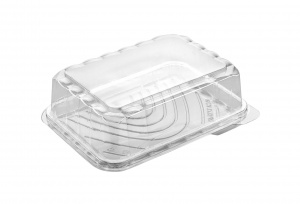 This is a clear APET tray that is used for cold food or snacks. not microwavable.