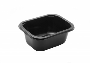 This is a rectangular shaped tray. It is pretty deep. It is a CPET tray that is environmentally friendly, and microwave and oven friendly.