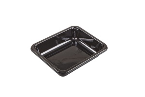 This is a big tray that is rectangular. It is a CPET tray with 1 compartment. it is a very nice shade of black.