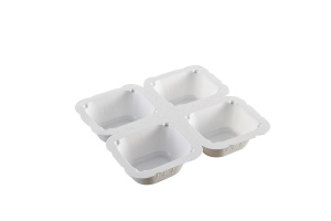 This is a 4 compartment white tray. It is made of CPET material.