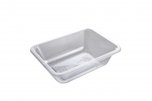 This picture shows our 2171-1F tray in APET material.  This is an ideal tray for fresh fruits, veggies and other cold items.