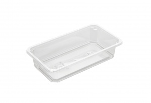 This is a tray made of APET material. It is used for cold food and snacks. It is not made for the microwave or the oven.