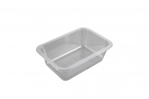 This is a tray made of APET material. It is used for cold food and snacks. It is not made for the microwave or the oven