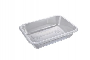 This is a tray which is made out of APET material. It is made for cold foods and snacks.