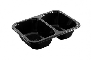 These is a two compartment CPET tray which is used for take away foods.