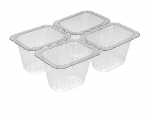 This is a 4 compartment tray which is made out of APET material. It is used for cold foods and snacks.