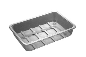 This is a tray made of APET material. It is commonly used for cold foods and snacks.