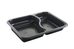 This is a CPET tray with 2 compartments that is environmentally friendly. It also goes into the microwave and oven up to 400 degrees.