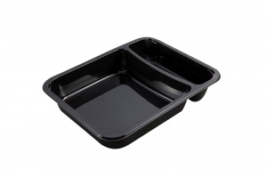 This is a CPET tray with 2 compartments that is environmentally friendly. It also goes into the microwave and oven up to 400 degrees