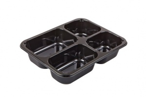 This CPET tray is ideal for Indian and Asian foods used in the food service business.  The CPET trays are available in black and we have many different kinds in shape.  This trays can be reheated in either a microwave or conventional oven up to 375 degrees F.