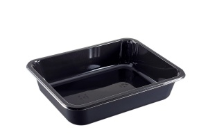 This is a rectangular shaped CPET tray. It can be put in the microwave and the oven. It has 1 compartment.