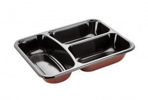 This is a rectangular shaped CPET tray. It can be put in the microwave and the oven. It has 3 compartment.