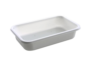 This is a rectangular shaped CPET tray. It comes only in White and is very deep.
