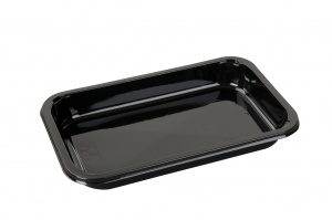 This is a rectangular shaped CPET tray. It comes only in black and is not very very deep.