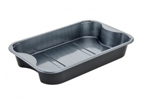 Silver/Black CPET tray with internal handles.