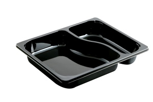 This is a rectangular shaped CPET tray. It is environmentally friendly and can be put in the microwave and oven. 2 compartments.