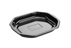 This is a polygonal CPET tray. is holds 710ml of food and is made for the microwave and oven.