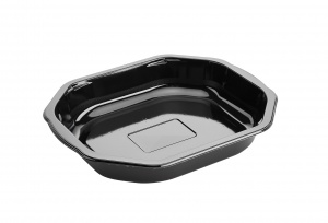 This is a polygonal CPET tray. It holds 920ml of food and is made for the microwave and oven.