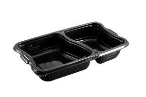 This is a polygonal CPET tray. It holds 1180ml of food and is made for the microwave and oven. 2 compartment tray.
