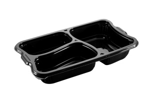 This is a polygonal CPET tray. It holds 1095ml of food and is made for the microwave and oven. 3 compartment tray.