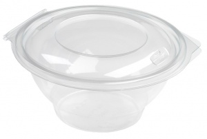 This is an APET bowl with a lid. It is circular shaped with a volume of 750ml.
