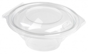 This is an APET bowl with a lid. It has a volume of 375ml and is not microwavable.
