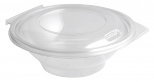 This is an APET bowl with a lid. It has a volume of 500ml and is not microwavable.