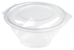 This is an APET bowl with a lid. It has a volume of 1000ml and is not microwavable.