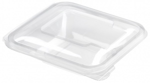 This is an APET tray that is clear. It is not made to go into the microwave.