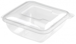 this is an APET tray that comes with a lid. It is made to hold cold food and snacks.
