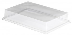 This is an APET lid that covers the 40601 Food Platter.