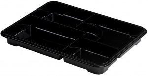 This is a black food platter. It has 4 compartments and is pretty deep. It is made of APET material. Made for cold foods and snacks.
