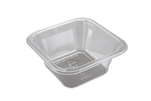 This is a tray which is made of APET material. It is used for cold foods and snacks.