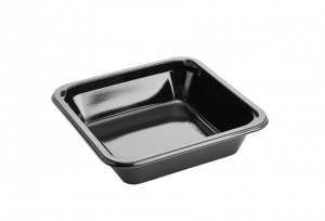 This is a square CPET tray. It holds 660ml of food and is made for the microwave and oven. 1 compartment tray.