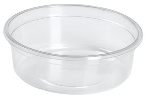 This is a bowl made out of APET material. It is made for cold foods and snacks. Not made for oven and microwave.