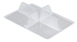 This is an APET tray. It is clear.