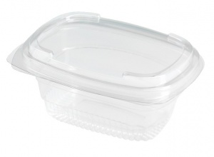 This is a bowl made of APET material. It has a lid and is used for cold foods and snacks.