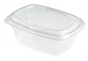 Ceci est un bol en matériau APET. Il dispose d'un couvercle et est utilisé pour les aliments froids et les collations.