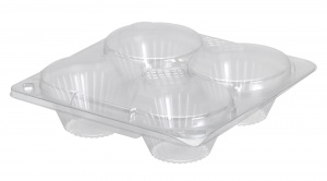 This is a tray made of APET material. It is commonly used for muffins.