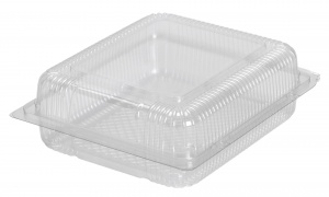 This is a tray made from APET material. It is commonly used for cold foods and snacks.