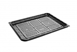 This is a food platter tray made of APET material. It is used for cold foods and snacks.