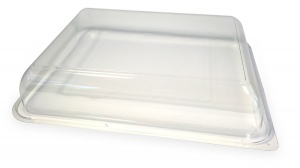 This is an APET lid that covers the 45397 food platter tray,
