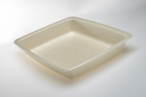 Our OK4 Series trays are 100% compostable.  The OK42227-1 is a one compartment, take away tray for ready meals in schools, senior meal to go, or institutional kitchens.