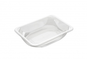 This is a clear tray which is made of APET material. It is used for cold foods and snacks.